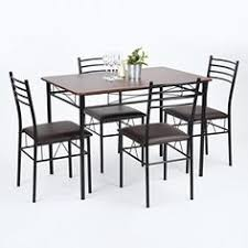 110cm 43 inch 5 pieces dining set with wood top 4 upholstered chairs walnut veneer