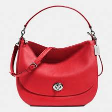 Coach Turnlock Hobo In Pebble Leather Sliver Red