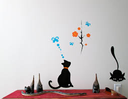 wall art office. Shilloutte Wall Art For Ofice Space Orange Flowers Blue Butterfly Black Cat Vinyl Decal On White Office