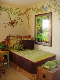 minimalist cream kids room decorated with jungle theme also braid storage bench on brown area rug