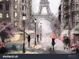 oil painting on canvas street view of paris artwork eiffel tower people