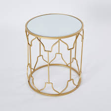 metallic accent table with round
