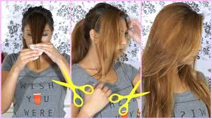 How To Cut Your Hair at Home! <b>Side</b> Swept <b>Bangs</b> Hair Cutting ...