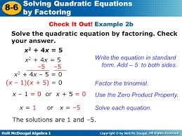 solving quadratic equations by factoring ppt