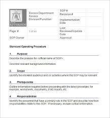 standard operating procedures template word standard operating procedure template word business form