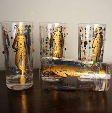 culver glass ware vintage glassware mardi gras pattern 22k gold jester jewelled