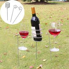 3pcs set outdoor wine glass bottle holder stake