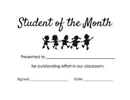 Student Of The Month Certificate Templates Student Of The Month Certificates Worksheets Teaching