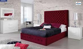 leonor modern bedroom set in red