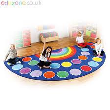 rainbow semi circle carpet