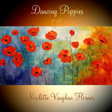 xl oil rich red dancing poppies painting abstract original modern palette knife impasto oil painting by nicolette vaughan horner