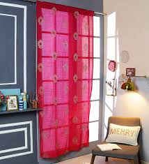 red polyester 42 x 88 inch rod pocket and smock band door curtain by solaj