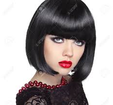 Beautiful Woman With Black Short Hair Haircut Hairstyle Fringe
