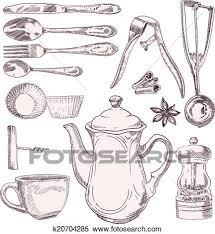 vintage kitchen utensils illustration. Contemporary Illustration A Cup Of Tea And Vintage Kitchen Utensils Isolated On White Background And Vintage Kitchen Utensils Illustration R
