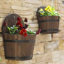 sweet idea wall mounted flower pots past fir wood outdoor