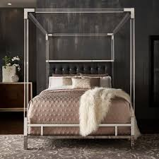 acrylic bedroom furniture. Reid Acrylic And Chrome Canopy Bed With Tufted Headboard By INSPIRE Q Bold - Free Shipping Today Overstock 25450209 Bedroom Furniture Z