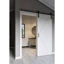 jeff lewis 42 in x 84 in white collar k bar mdf barn door with sliding door hardware kit 65709 the