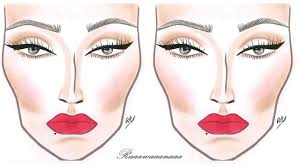 Eyeliner Chart How To Eyeliner Bold Lips Face Chart Makeup Tutorial
