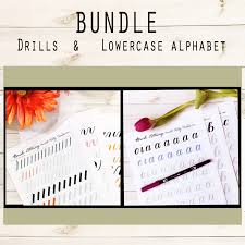 brush lettering worksheets. @kellycreates #brushlettering #learn #guide #worksheets #practice #drills #script brush lettering worksheets l