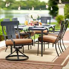 hampton bay oak heights 7 piece metal outdoor patio dining set with cashew cushions