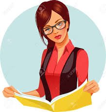 portrait of brunette woman reading book beautiful woman wearing gles reading newspaper vector ilration