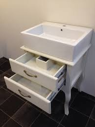 bathroom vanities vintage style. White Wooden Shabby Bathroom Vanity With Drawers And Rectangle Sink Also Curvy Base On Ceramics Flooring. Vintage Ideas Of Chic Vanities Style E