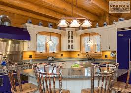log cabin kitchen with blue appliances