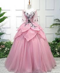 <b>Beautiful pink tulle</b>, <b>lace</b> prom dress, v neck prom dress, mid sleeves ...