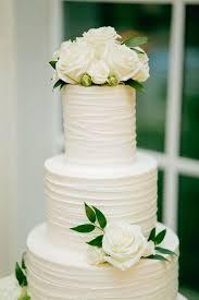Modern All White Wedding Cake With Greenery Emmalovesweddings