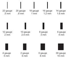 ear gauging chart actual size 16 gauge earrings gauge chart 2 correct one actual size image i was
