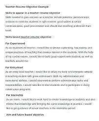 Teacher Resume Objectives Objectives For Teaching Resume Resume Of A Teacher Teaching