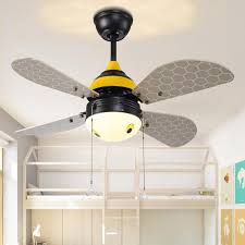 Good 2018 Art Deco LED Ceiling Fans Light Creative Bee Home Lighting LED Bedroom  Kidsu0027 Room Color Changing Fans Lamps With Remote Control From Biaiju, ...