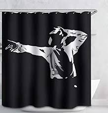 Image Unavailable. not available for. Color: Michael Jackson Fabric Shower Curtain Amazon.com: 70x70 Black and
