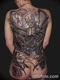 фото тату на спине скелет 25032019 023 Back Tattoo Skeleton