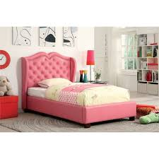 pink upholstered bed. Furniture Of America Harla Twin Tufted Leather Upholstered Bed In Pink