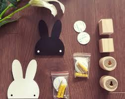 Set Of 2 Bunny Rabbit Wood Bedroom Hanger Hook