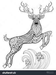 Small Picture Deer Coloring Pages for Adults deer with birds in the grass