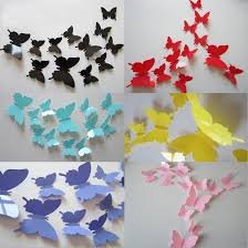 Wall Decoration Paper Design FoodyMine 100Pcs PVC 100D Wonderful Art Butterfly Design Wall Stickers 79