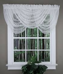 fl vine lace valance white