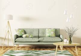 Modern Interior Of Living Room With Green Sofa Wooden Coffee