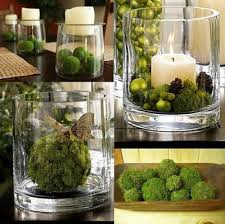 Decorative Moss Balls Moss Balls Vase with a candle and Christmas ornaments or with a 44