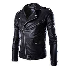 image is loading uk men punk pu leather slim jacket coat