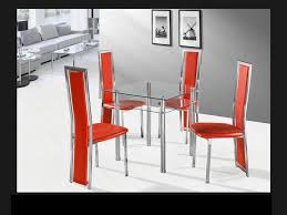 square clear with chrome glass dining table and 4 red chairs set