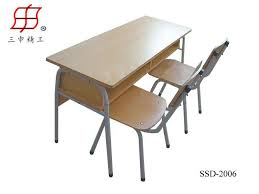 school two seaters student wooden desk and chair