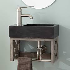 16 ansel teak wall mount vanity with towel bar stone sink gray