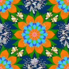 Tibetan Fabric Design Pattern With Abstract Art Flower For Tibetan Yoga Bohemian Element