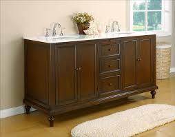classic 70 double vanity in dark brown with white marble top bathroom