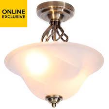 Exclusive Light Fittings Rolli Antique Brass Effect Flush Ceiling Light Light