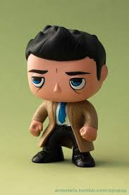 customized castiel funko pop figure repainted him and added a sculpted tie supernatural