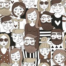 People Pattern Unique People Pattern Design Vector Free Download